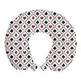 ABAKUHAUS Casinò Cuscino da Viaggio, Tourist Card Poker, Accessorio in Schiuma di Memoria per Viaggio, 30 cm x 30 cm, rosso nero