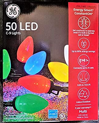GE Energy Smart 50 Multicolor LED C-9 Holiday/Christmas Lights - 32.6ft String (Indoor/Outdoor)
