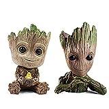 2 piezas Baby Groot Flower Pot Pen Pot PVC Hero Modelo Guardianes de la galaxia Manualidades Figura ...