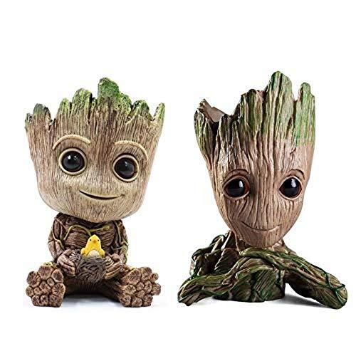 Groot - Maceta de flores para bebé, diseño de héroes de PVC, 2 unidades