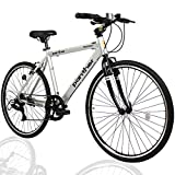 PANTHER (パンサー) クロスバイク 軽量アルミ製フレーム 外装7段変速 適応身長160cm以上 フロントハブクイックリリース搭載 アジャスタブルステム 厚手クッションサドル Vブレーキ コスパ最強モデル メーカー1年間保証 (NEW Silver×Black)