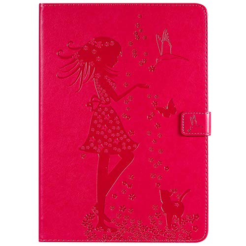 BAUBEY Case for iPad Air 3rd Generation 10.5 Inch 2019 Case / 2017 iPad Pro 10.5, Smart Embossing Case Cover Ultra Slim Cover Case Shell with Auto Wake/Sleep Premium Leather Case (cat and girl-red)