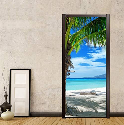 YFXGSTLI Creativo Adesivo Porta 3D Fai da Te Adesivo per Porta PVC Decorazioni per La Casa Decalcomanie in Autoadesivo Spiaggia al Mare Fotografia Foto Carta da Parati Porta Murale 77X200Cm