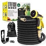 Flexible Garden Hose 100ft | Superior Lightweight Shrinking Hose | Never Kink Expandable Hose 100 ft | Black Leak Proof Retractable Hose 100 ft | Solid 3/4' Brass Connectors | 10 Function Hose Sprayer