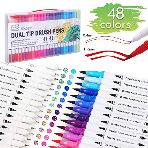 Lehoo Castle Penne da Colorare per Bambini 48 Colori, [0.4mm] [1-2mm] Pennarelli a Doppia Punta, Pennarelli per Bambini, Penne da Colorare per Adulti, Disegno, Pittura Calligrafia
