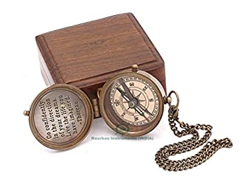 Solid Brass Directional Magnetic Compass Antique Nautical Vintage Quote Engraved with Thoreau s Scripture Baptism Gifts with Rosewood Case for Son Go Confidently in The Direction of Your Dreams!