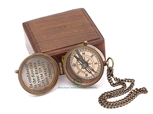 Roorkee Instruments India Quote Engraved Antique Nautical Vintage Directional Magnetic Compass with Thoreau's Scripture Baptism Gifts with Wooden Case Go Confidently in The Direction of Your Dreams!