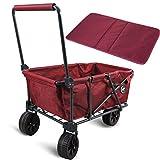 REDCAMP Folding Beach Wagon Cart with Big Wheels - 2.6' Wide, 1200D...