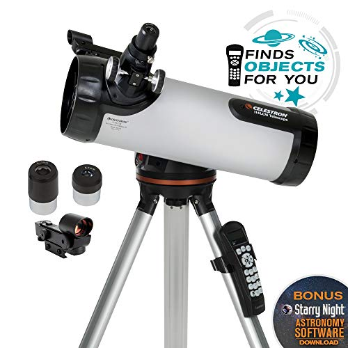 Celestron - 114LCM Computerized Newtonian Telescope - Telescopes for Beginners - 2 Eyepieces - Full-Height Tripod - Motorized Altazimuth Mount - Large 114mm Newtonian Reflector