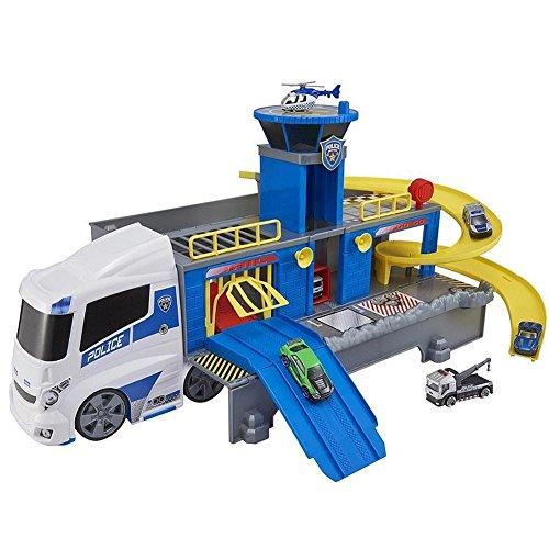 Bakaji Teamsterz Camion Polizia Stazione Centrale di Pattugliamento con Rampa di lancio, Eliporto, Ascensore, Luci e Suoni, 2 Auto ed 1 Elicottero