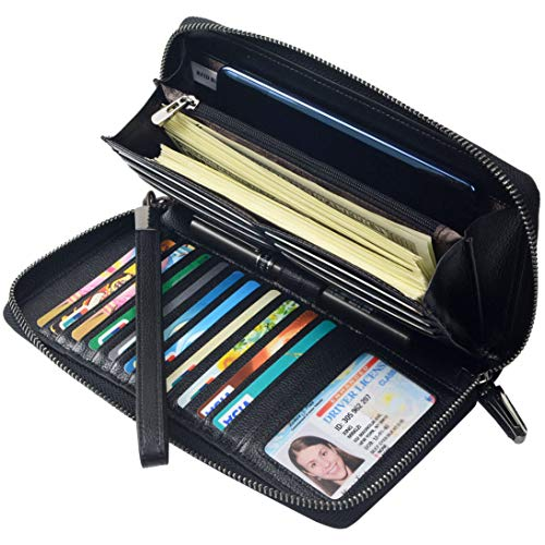 Women RFID Blocking Wallet Leather Zip Around Phone Clutch Large Travel Purse Wristlet (Black)