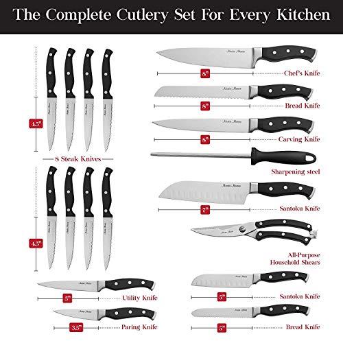 19-Piece Premium Kitchen Knife Set With Wooden Block   Master Maison German Stainless Steel Cutlery With Knife Sharpener
