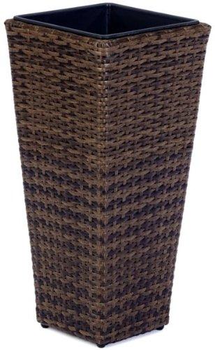 Weles GMBH Pot à Fleurs en résine tressée Gartenfreude avec Insert en Plastique pour l'intérieur et l'extérieur, de Couleur Marron Bicolore, 28 x 28 x 60 cm