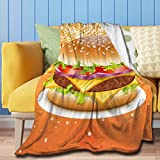 "ZHONGKUI Throw Blanket Hamburger Super Soft Flannel Luxury Bed Sofa Blanket for All Seasons 50""X40"" Small"