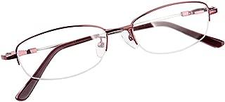 Xinvision Memory Metal Half Frame Myopia Glasses, Women Anti-Radiation Shortsighted Eyeglasses Nearsighted Goggles Spectacles Eyewear -0.5~-6.00