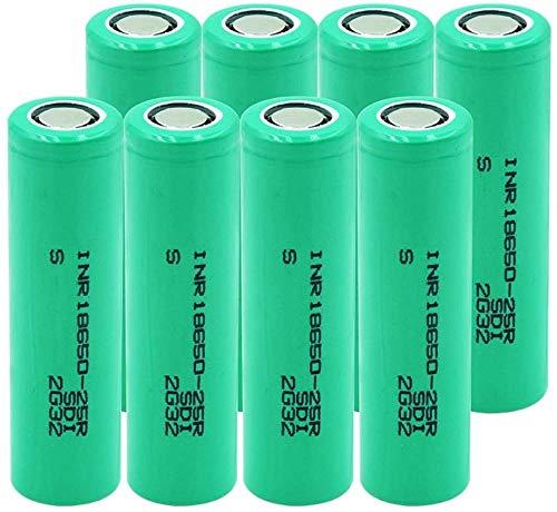 20A Corriente De Descarga Inr 18650-25R 3,7 V 2500 Mah Li-Ion Li-Ion Batería 18650 Pilas De Repuesto Recargables-8 Piezas