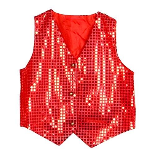 Clown vest - pailletten - kind - rood - carnaval - mouwloos - glitter - uitvoeringen - essays - 8/9 jaar - maat 140 cm - origineel idee voor een verjaardagscadeau voor kerstmis