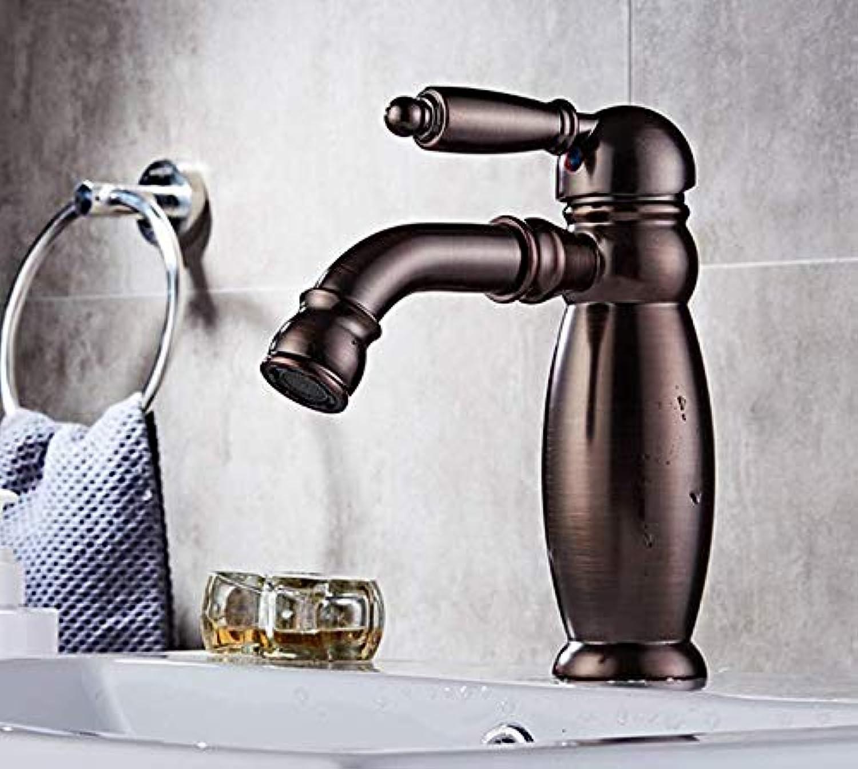 Messingbadarmaturen l Eingerieben Bronze Tubbiness Bad Becken Mischbatterie Rotierende Düse Kalt- Und Warmwasserhahn