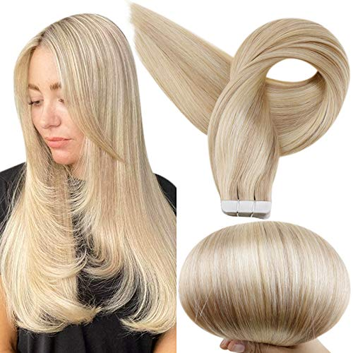 Full Shine Glue on Remy Human Hair Extension Tape Hair Salon Quality Color 16 Highlighted 22 Blonde Fashion Extensions Tape in Hair Extension 50g 18 Inch for Women