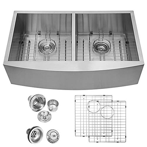 Logmey 33 Inch Farmhouse Double Bowl Kitchen Sink 18 Gauge Stainless Steel Double Bowl 50/50 Farm Sink