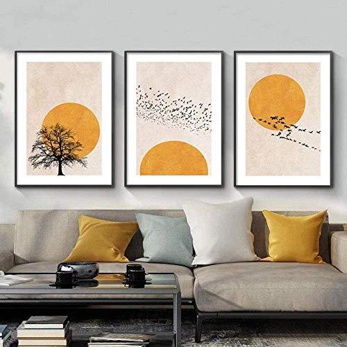 XJKJ Lienzo decorativo para pared de mediados de siglo moderno diseño de fase lunar abstracto pintura de sol neutro cuadro geométrico bohemio decoración de pared, 30 x 40 cm, 3 unidades sin marco