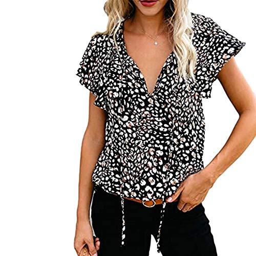 2021 Nuevo Camiseta Mujer Verano Moda impresión Manga Corta Elegante Blusa Camisa Bohemia Talla Grande Cuello...