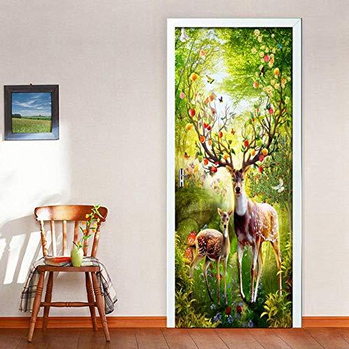 XLXYD deurstickers schilderijen bosdieren eland 3D deur stickers behang zelfklevend zelfklevend deurbehang deursfolie motief Forest Shine voor alle deuren in het formaat exclusief als plakfolie Ge 77x200cm A2