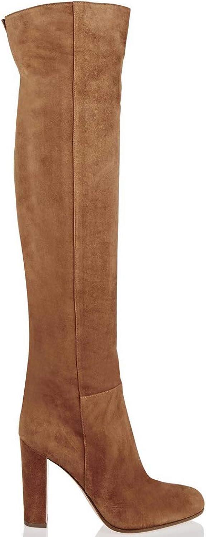 Boots, Ladies Brown High Heel Over Knee Boots