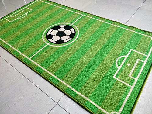 BuyElegant® - Alfombra de área antideslizante, 100% poliéster y látex, parte trasera ecológica, lavable., poliéster, Impresión de fútbol., 150 cms x 80 cms