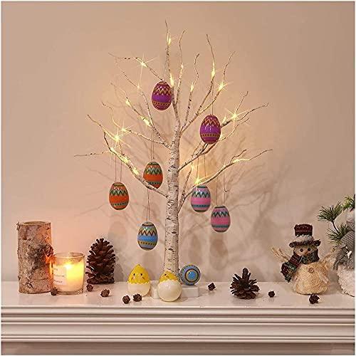 Pasen-decoraties voor boom Pasen-decoraties thuis Pasen-boom met lichten wit 60cm tafelblad takje boom pre-verlicht met LEDs omvat gratis decoraties-6 stks willekeurige kleur Baifantastic