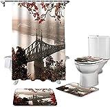 Badmatenset 4-Delig, Badkamer Douchegordijn En Vloerkleed Sets Herfst Rode Bladeren En Uitzicht Op De London Bridge WC-Deksel Deksel Badmat Douchegordijnen Set