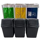 Wellhome Prosperplast Juego de 3 Cubos Capacidad de 60 litros en Color 39x23x33...