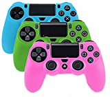 YTTL® 3 Pack Glow in Dark PlayStation 4 Controller PlayStation 4 Gamepads PS4 Controller Glow-in-the-Dark Silicone Protective Skin Case Cover Sony PS4--Blue/Green/Pink
