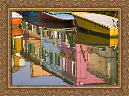 Kaveney, Wendy 40x28 Gold Ornate Framed Canvas Art Print Titled: Italy, Burano Boats on a Canal with Reflections