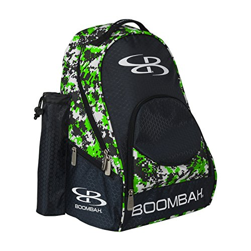 "Boombah Tyro Baseball / Softball Bat Backpack - 20"" x 15"" x 10"" - Camo Black/Lime Green - Holds 2 Bats up to Barrel Size of 2-5/8"""