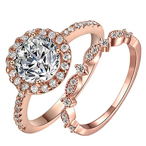 TIVANI-CITY Women's 2PCS Shinning 18K Gold Plated Princess Cut CZ Engagement Wedding Solitaire Rings Set Best Anniversary Eternity Love Promise Rings for Her Heart&Arrow Jewelry Gifts (Rose Gold, 7)