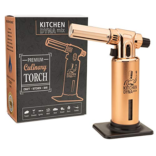 Professional culinary grade Kitchen TORCH(Rose Gold Edition) by Kitchen Dynamix Perfect Cooking torch for For Bar, Baking, Creme brulee & Crafts. 2700F Max temp