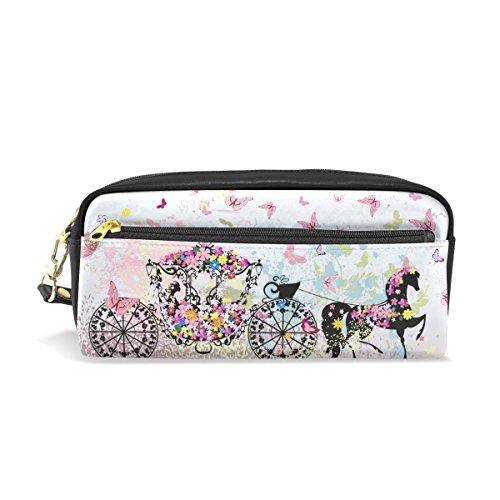 Trousse à crayons, motif floral Imprimé Papillon Voyage Maquillage Pouch Grande capacité étanche Cuir 2 compartiments pour filles garçons femmes Hommes