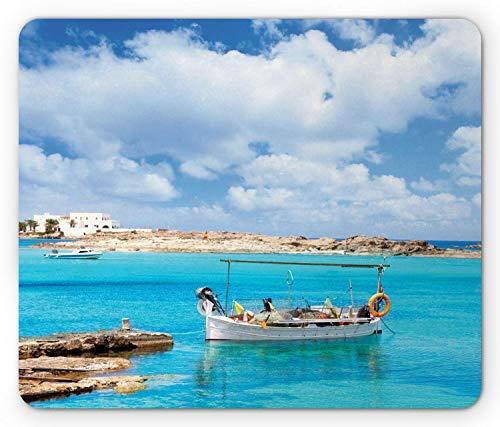 Alfombrilla de ratón Ibiza, Playa ELS Pujols en Formentera con Barcos Día de Verano exótico del Sur de España, Alfombrilla de Goma Rectangular Antideslizante