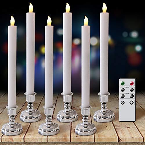 Eldnacele Vlamloze Taper Kaarsen Batterij Operated LED Window Kaarsen met Remote Timer, Set van 6 Real Wax Warm Wit Kaarsen Dripless voor Decoratie, Wit