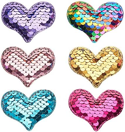 PH PandaHall 30 pcs 6 Colors Sewing on Heart Patches Sequins Patch Stickers Applique Embroidered product image