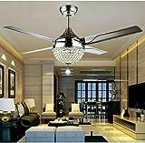 Ventilatore da soffitto in cristallo da 44 pollici, moderno, di lusso, con telecomando, lampadario in cristallo, 4 pale in acciaio inossidabile