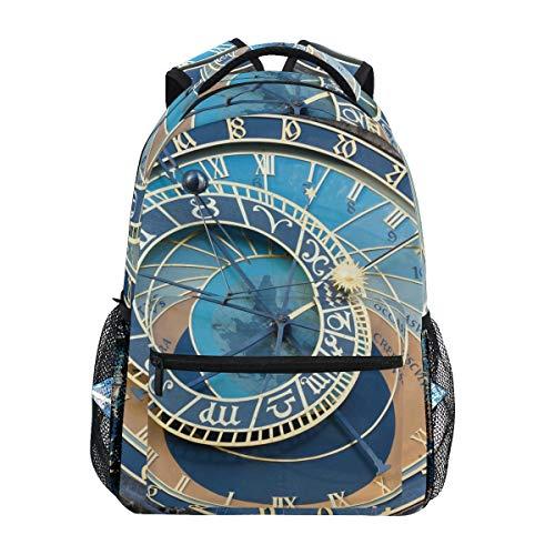 BKEOY Mochilas Antigua Praga Reloj Astronómico Multifunción Daypack para Hombres Mujeres Niños Niñas Viaje Senderismo Camping Escuela Bolsa Libro