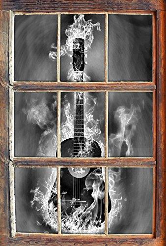 Monocrome, Brennende Gitarre, Heiße Flammen Fenster im 3D-Look, Wand- oder Türaufkleber Format: 62x42cm, Wandsticker, Wandtattoo, Wanddekoration