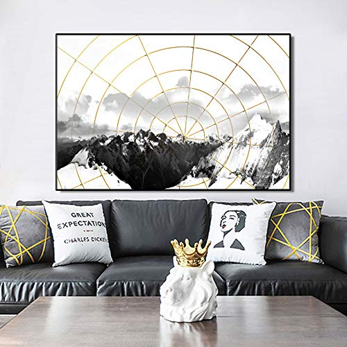 QWESFX Abstrakte Landschaft Ölgemälde Wandkunst Schwarz Weiß Bergbilder E 60x120cm