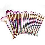 99AMZ 17 piezas Profesional Brochas de Maquillaje con Forma de Cola de Sirena Cepillos de Maquillaje para las Ojos Facial Labios Pincel de Portátil Pincel de Cosmeticos Set de Brochas (Multicolor)