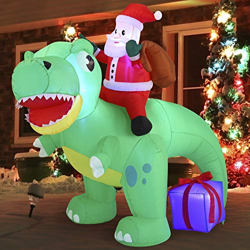 Joiedomi 6 FT Long Santa Ride on Dinosaur Inflatable with Build-in LEDs Blow Up Inflatables for Xmas Party Indoor, Outdoor, Yard, Garden, Lawn Winter Decor