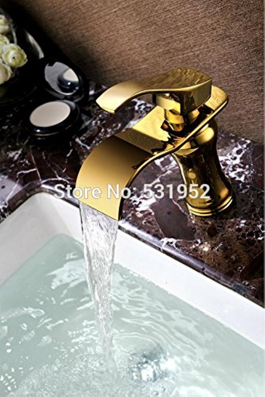 Retro Deluxe FaucetingFree Versand verGoldeten Waschbecken Wasserhahn Mixer Luxus Wasserhahn Einloch Deck montiert Wasserfall Wasserhahn Hot Sale Promo, Messing, Gelb, tippen Sie auf