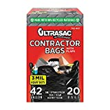 Ultrasac Contractor Bags 42 Gallon (20 PACK /w FLAP TIES), 33