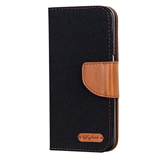Verco Xiaomi Mi 9 Hülle, Schutzhülle für Xiaomi Mi 9 Tasche Denim Textil Book Hülle Flip Hülle - Klapphülle Schwarz